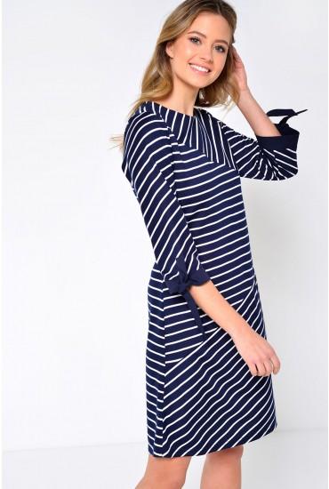 Zia Stripe Tunic Dress in Navy