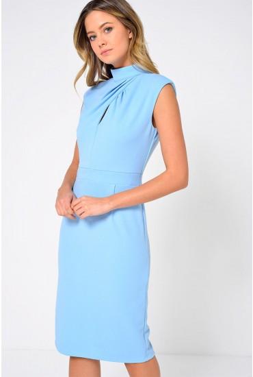 Vivi Pleated High Neck Midi Dress in Pale Blue