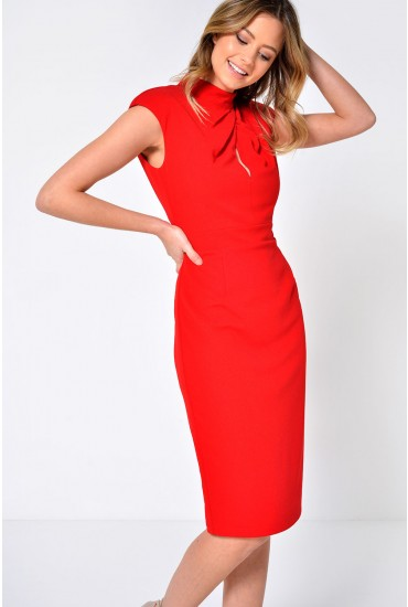 Vivi Pleated High Neck Midi Dress in Red