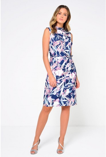 Lucille Beaded Neck Printed Dress in Navy