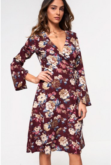 Lilianne Floral Wrap Dress in Burgundy