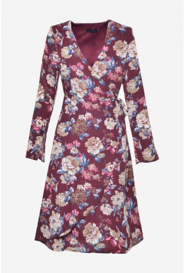 Lilianne Floral Wrap Dress in Burgundy