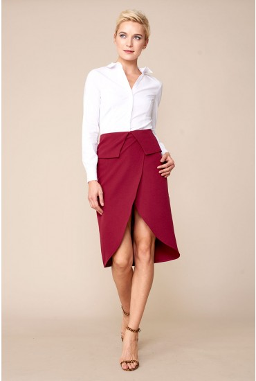 Evie Occasion Pencil Skirt in Burgundy
