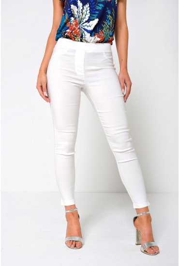 Nadia High Waist Jeggings in Off white
