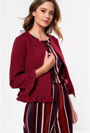 Rella Frill Trim Blazer in Burgundy