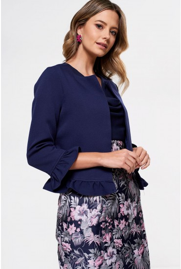 Rella Frill Trim Blazer in Navy