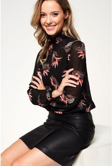 Amalie Smock Long Sleeve Top in Black