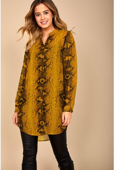 Daisy Long Sleeve Oversized Shirt in Chartreuse