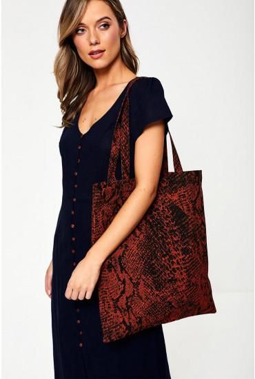 PCElse Snakeskin Print Shopper Bag in Rust