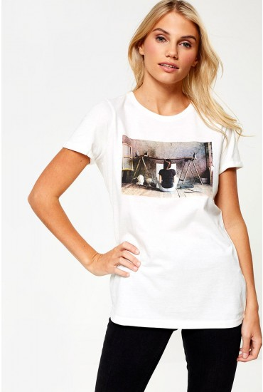 Nova T-shirt in Off White with Photographic Print