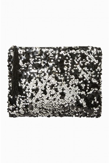 Snow Sequin Clutch in Black