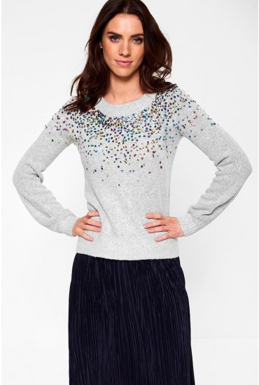 Sparkle Cropped Jumper in Light Grey