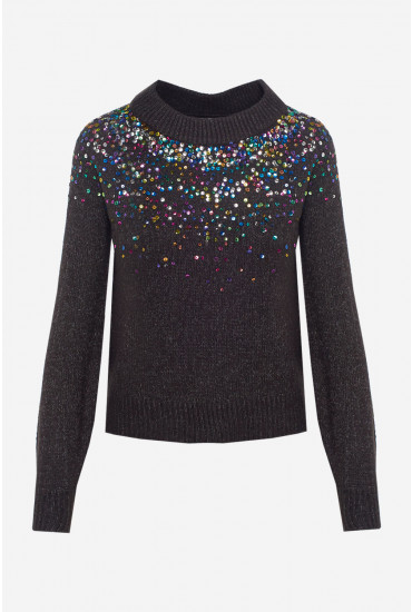 Sparkle Cropped Jumper in Dark Grey