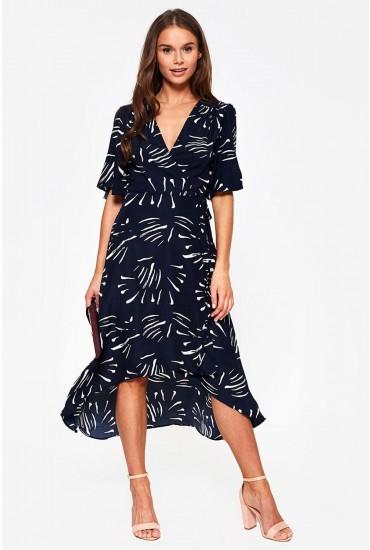 Bonnie Splash Print Wrap Dress in Navy