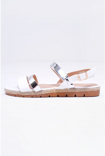 Summer Flat Sandal in White