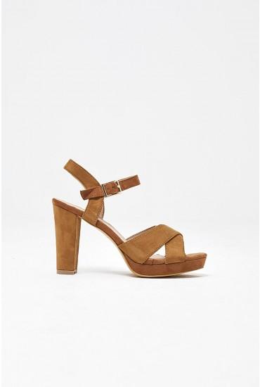 Anna Platform Heel Sandals in Camel Suede