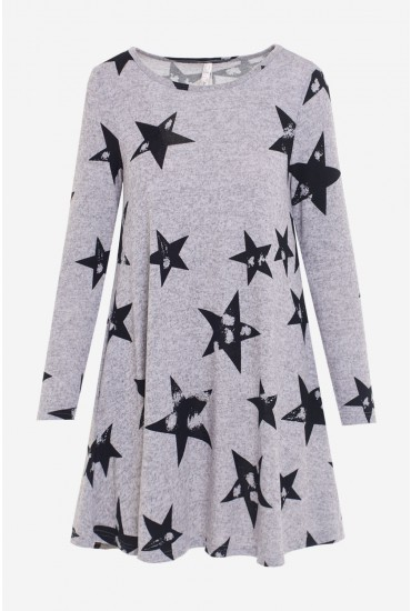 Rachael Star Print Swing Tunic Dress in Grey