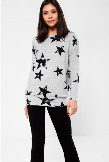 Melanie Star Print Tunic Top in Grey