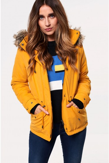 Starlight Short Fur Parka Jacket in Mustard