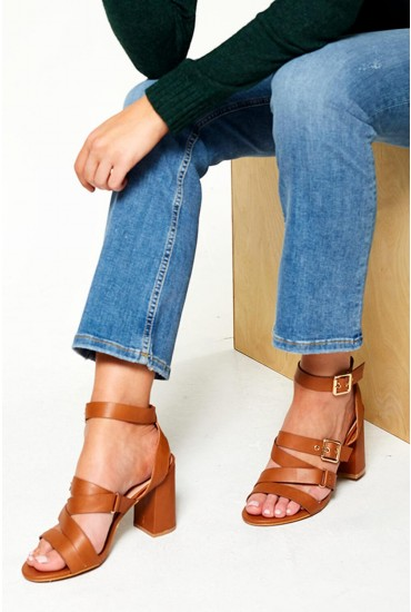 Domi Strappy Heeled Sandals in Tan