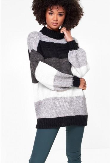 Wine Stripe Highneck Knit in Black