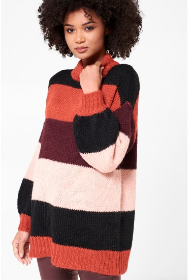 Wine Stripe Highneck Knit in Rust