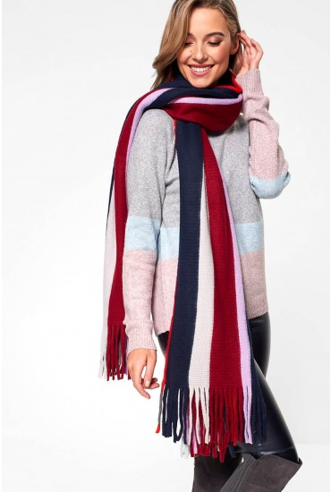Drace Stripe Long Scarf with Tassel Detail-one-size
