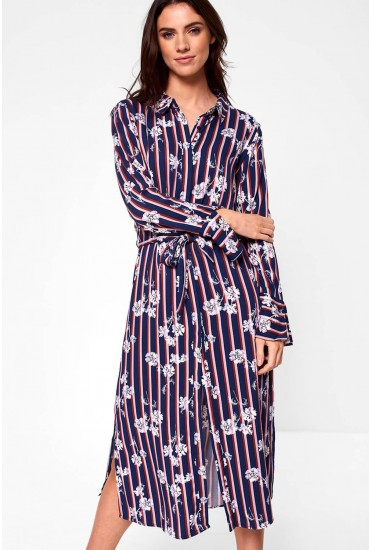 Esme Stripe Shirt Dress in Navy Floral Print
