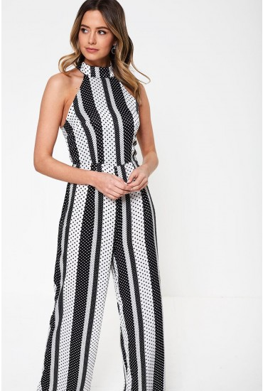 Kady Stripe Spot Sleeveless Jumsuit in Black