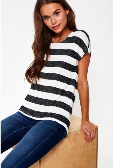 Wide Stripe T-Shirt in Dark Grey