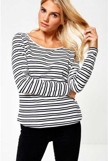 Noma Striped Long Sleeve Top in White