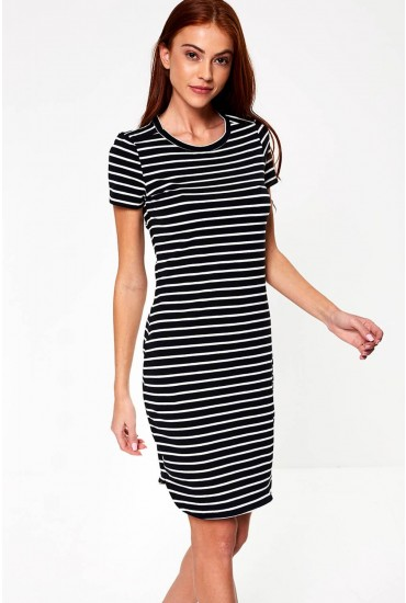 Summer Striped Dress in Black