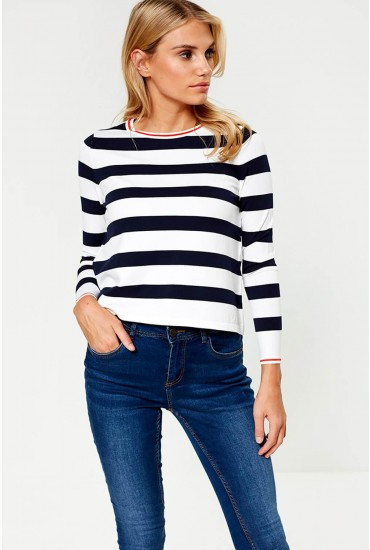 Suzana Striped Pullover in Navy and White