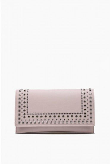 Izzy Studded Clutch Bag in Blush