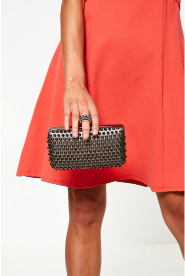 Jayne Studded Clutch Bag in Silver