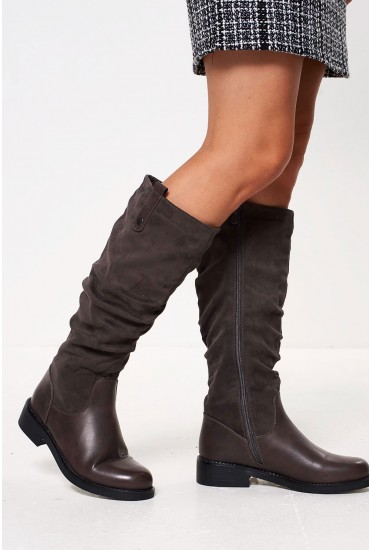 Kristen Suede Knee Boots in Grey