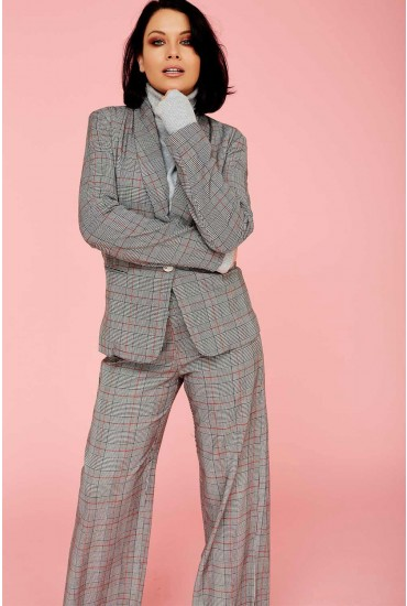 Tathiana Suit Blazer in Grey Check Print