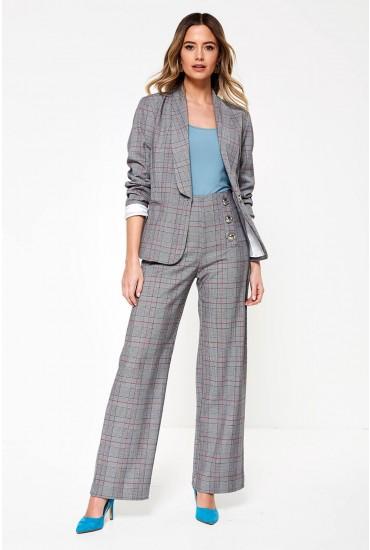 Tathiana Suit Blazer in Grey Check Print