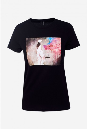 Nova T-shirt in Black with Photographic Print