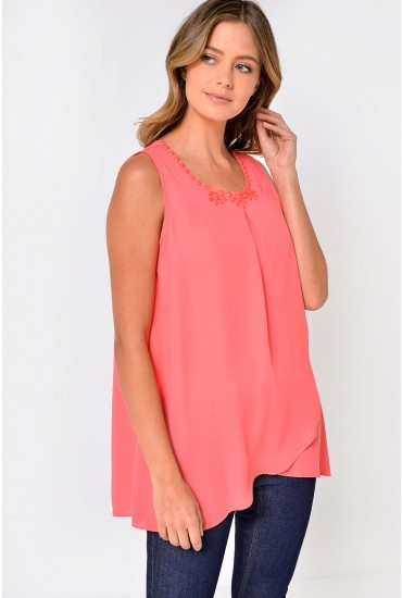 Davi Neck Detail Top in Coral