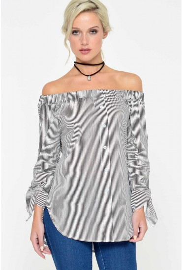 Gabriella Bardot Stripe Top in Black and White