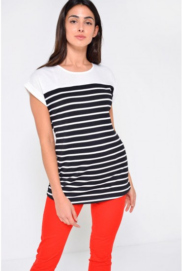 Portia Striped Tee in Black