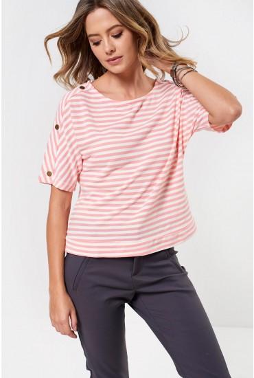 Trish Striped Tee in Pink