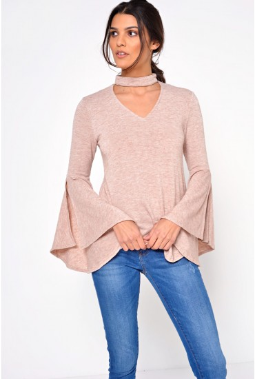 Sharlene Flare Sleeve Choker Top in Blush