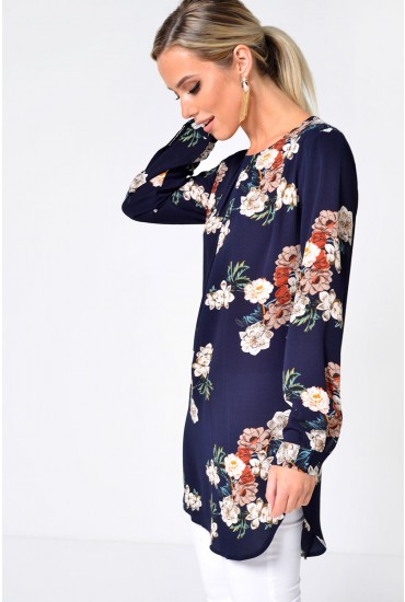 Jane Printed Tunic Dress in Navy