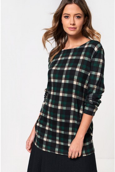 Lilly Oversized Check Top in Green