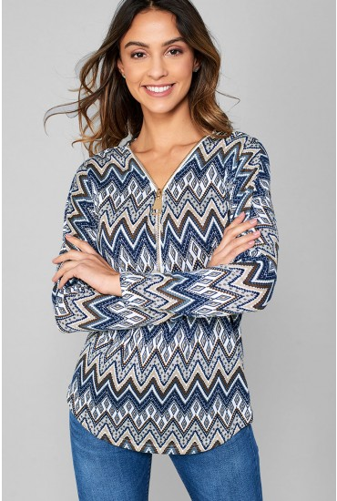 Dylan Aztec Print Zip Top  in Navy