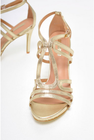 Ollie T Bar Platform Sandals in Gold