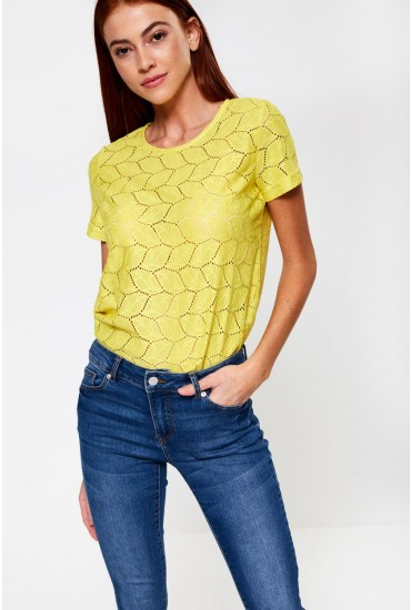 Tag Short Sleeve Lace Top in Neon Yellow