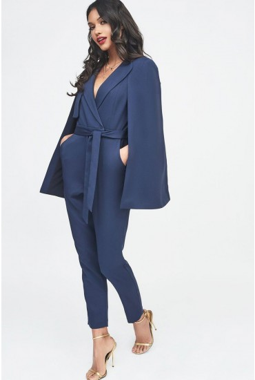 Lavish Alice Tailored Cape Jumpsuit in Navy